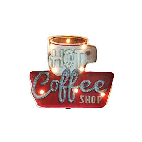 INGHU retrò Metallo Luce LED Insegna, caffè Negozio Bar Pub Muro Luce Notturna, LED Neon Display Segnale Appeso Board, Americano Industriale Stile caffè Decorazione Parete - Rosso, Gratis Misura
