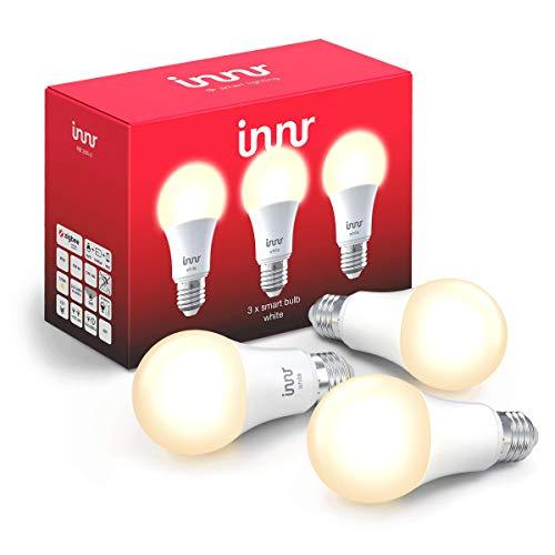 Innr E27 Lampadina LED White, funziona con Philips Hue*, Alexa & Google (Hub Richiesto) Dimmerabile, Bianca Calda 2700K, 3-Pack, RB 265-3