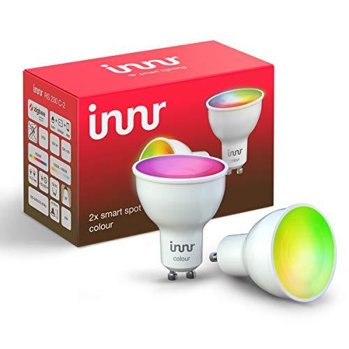 Innr GU10 Smart Spot Color faretto LED, funziona con Philips Hue*, Alexa & Google (hub richiesto) dimmerabile, 16 millioni di colori, 2-Pack, RS 230 C-2
