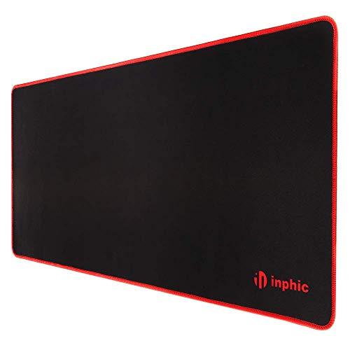 INPHIC Tappetino per Mouse Gaming Keyboard Mouse Pad da Gioco XL (700 * 300 * 3mm), Superficie Strutturata Confortevole per Computer Portatile PC Mac - Nero