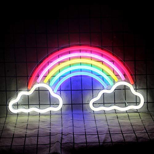 Insegna al neon arcobaleno led luci al neon parete interna luce neon decorazione camera da letto luce notturna natale compleanno festa anniversario regali accessori camera (15,7 '' × 7,95 '')