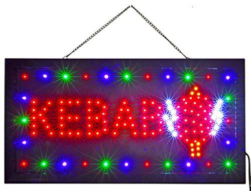 INSEGNA Luminosa A LED con Scritta - Kebab 48X25X2 CM con LED Colorati Lampeggianti [Classe energetica A]