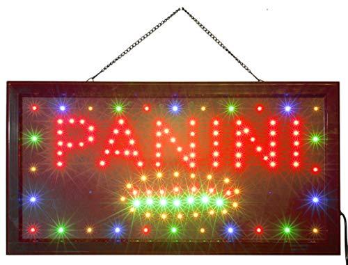 INSEGNA Luminosa A LED con Scritta - Panini 48X25X2 CM con LED Colorati Lampeggianti [Classe energetica A]