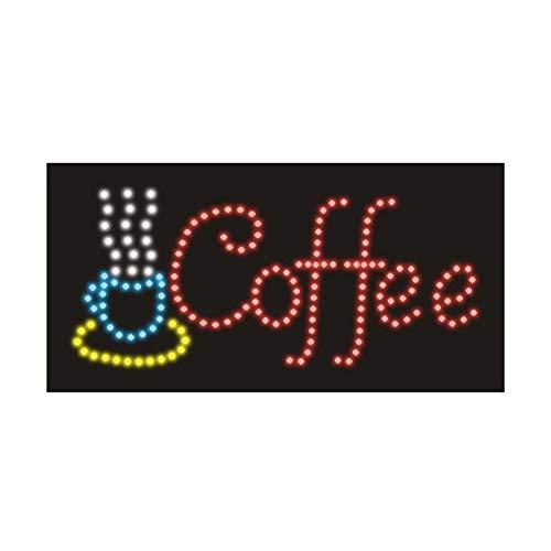 Insegna Luminosa Led - Pannello Vintage con Neon Luminose ad Intermittenza - Ideale per Negozi, Pub, Pizzerie o Casa - 48 x 25 x 2 cm (Coffee)