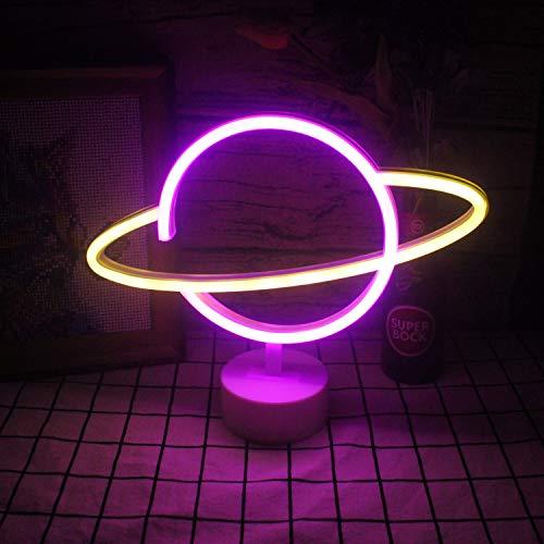 """Insegne al neon gialle planetarie rosa con luci al neon a led Base per bambini Lampada da notte Insegna USB/Batteria Novità Home Decor Festival Fornitura di compleanno di Natale (9,4""""'× 11,8' ')"""