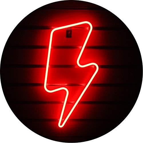 Insegne al neon Lightning Bolt Insegne al neon Lightning con Art Wall Insegne luminose al neon LED per camera da letto, camera dei bambini, Natale, festa di compleanno, soggiorno, decorazioni (rosso)