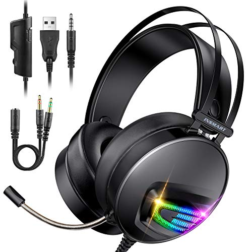 INSMART Cuffie Gaming, Cuffie Gaming PS4 con Microfono a Scomparsa, 50 mm Driver, 3.5 mm Jack RGB LED Stereo Cancellazione Over Ear Gaming Headset per PS4/Xbox One/PC/Laptop/Tablet/Nintendo Switch