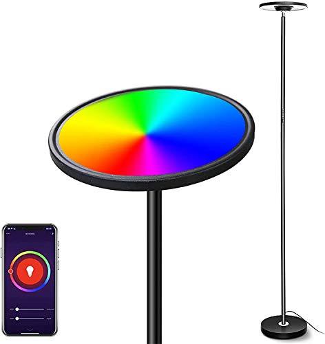 Intelligente Lampada da Terra LED, Bomcosy RGBW Piantana da Terra Dimmerabile, Lampada da Paviment Tocco/Vocale Lavorare con Smartphone, Alexa, Google Assistant per Soggiorno Ufficio Camera da letto