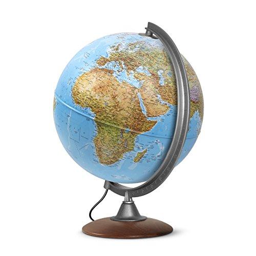 Interkart Globo Luminoso, mappamondo, cartografia a Doppia Effetto, Fisica e Politica, Italiano, con Base in Legno, Lampadina a LED