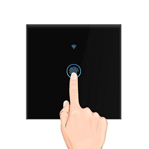 Interruttore a parete Wi-Fi, a sfioramento, intelligente, timer remoto di controllo, sensore interruttore a parete, funziona con le app Amazon Alexa e Google Home Control, nero