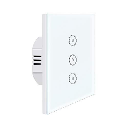 Interruttore della luce smart Alexa UseeLink Wi-Fi in vetro temperato touch screen 3 marce 1 Way, compatibile con Alexa/Google Home, telecomando, timer, conduttore neutro richiesto (1 pz)