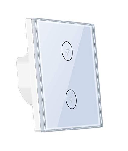 Interruttore della luce Smart Alexa, Wlan Wifi, compatibile con Alexa Echo e Google Home Timing, con touch screen in vetro temperato, per controllare i tuoi dispositivi da qualsiasi luogo (2 vie)