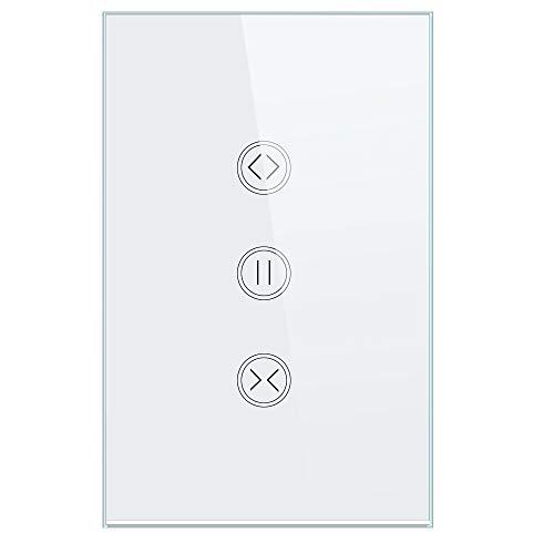 Interruttore per Tapparelle Controller, WIFI Touch Switch,Telecomando Senza Fili, Compatibile con iOS/Android, Funziona con Alexa Echo e Google Assistant(1-pack White)