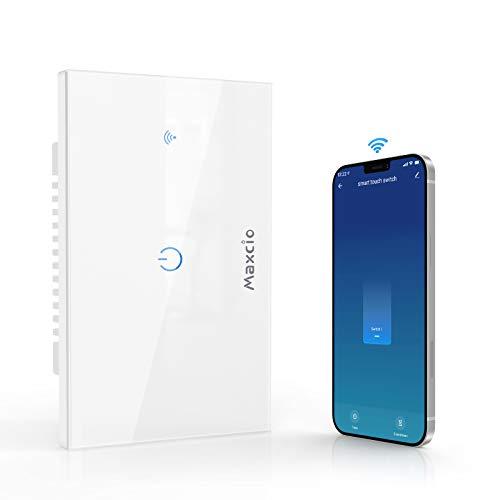 Interruttore Smart, Maxcio Interruttore Alexa della Luce, Switch Wifi Compatibile con Alexa Echo, Google Home, Controllo Vocale, APP Controllo Funzione Timer, Condividere (1 Gang)