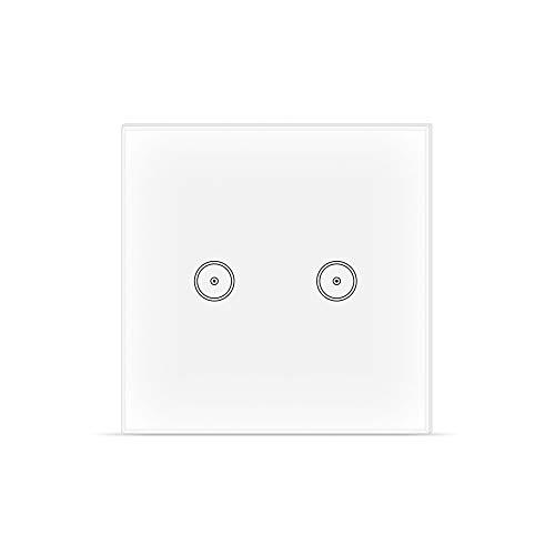 Interruttore WIFI intelligente, Smart Light Switch compatibile con Alexa Google Home e IFTTT, Interruttore Smart touchscreen, Funzione di Temporizzazione, 2.4 GHz, Nessun hub Richiesto 2 Gang