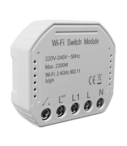 Interruttore WiFi wireless smart switch modulo da incasso compatibile con Alexa, Google Home, Apple iOS, Android, IFTTT a controllo vocale per uso da uno o più punti anche con deviatore e invertitore