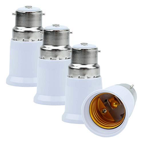 Intirilife 4X Adattatore per Lampadina da B22 a E27 in Bianco - Adattatore per Lampada per Riforma da B22 a E27 - per Supporto Lampada per lampadine, LED, alogeno, Lampada a Risparmio energetico