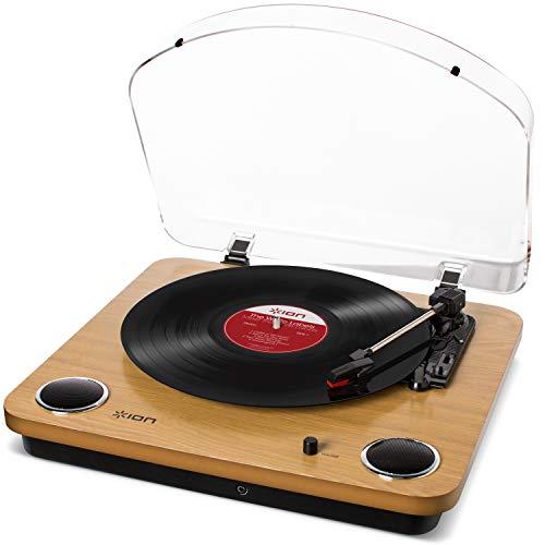 ION Audio Max LP – Giradischi Vinili a tre velocità con Casse, uscita Cuffie, Conversione USB + Software, uscite RCA Standard – Finitura in Legno