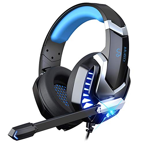 iporachx Headphones Over Ear, Cuffie Gaming with Noise Cancelling Mic, Hi-Fi Stereo Comfortable Earpads Gaming Headset Cablate, Bass, Multi-Platform Headset for PC/PS4/Xbox One/Switch, Black Blue