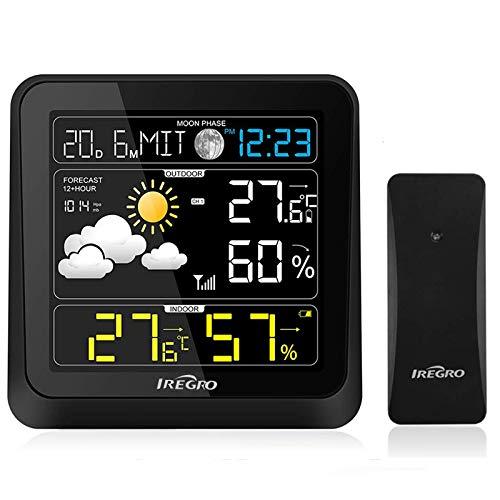 IREGRO Stazione meteorologic con Sensore Esterno, Previsioni del Tempo con Monitor di Temperatura e umidità, Multifunzione 13 in 1, LCD a Colori Visivo a 360 ° con Sveglia, per Giardino Domestico