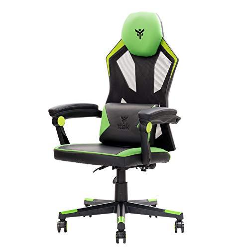 ITEK 4CREATORS CF50 Sedia Gaming ergonomica Verde, schienale reclinabile e poggiatesta regolabili, supporto lombare, comfort e design, ideale come sedia ufficio, sedia per studio e poltrona per gamer