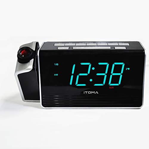iTOMA Radiosveglia con Proiettore e Doppio Allarme Schermo da 1.4 Pollici Sveglia Digitale con Dimmer, Funzione di Snooze e Porta di Ricarica USB per Smartphone(CKS512)