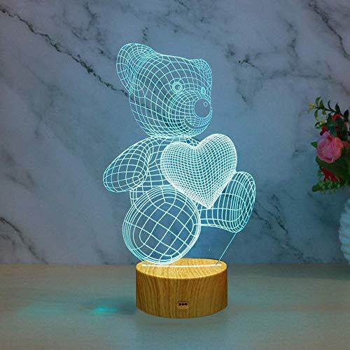 IWILCS Lampada Effetto 3D, Lampade 3D Illusione Ottica Luce Notturna Lampada da notte 3D Illusione ottica 16 Colori Controllo Tattile Lampada Decorazione Da Comodino Con Cavo Usb, Teddy Bear
