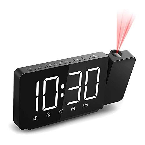IWILCS - Sveglia con proiezione, radiosveglia digitale, doppia sveglia, radio FM, proiettore girevole a 180°, 4 luminosità del display (bianco) Snooze e 12/24H