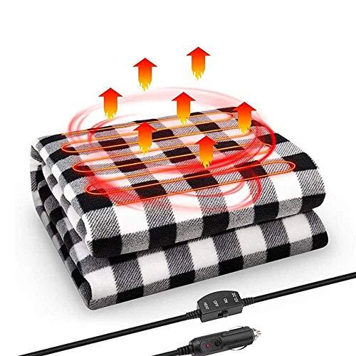 JanTeelGO Coperta Elettrica, Coperta riscaldante 12V Auto elettrica Coperta in Tessuto Non Tessuto Viaggio riscaldabili Coperta Termica per Auto Camion Barche o RV (Nero)
