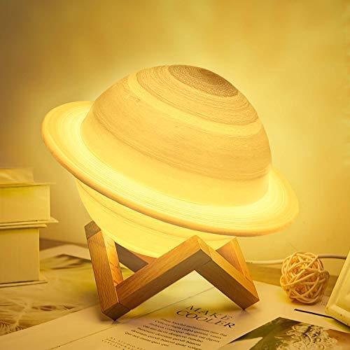 JBHOO Nuovo Lampada Luna 3D Lampada da Notte Ricaricabile a 16 Colori, Lampada Saturno LED con Supporto in Legno e Rete Sospesa, Telecomando e Controllo Touch Regalo Perfetto per Bambini Amici
