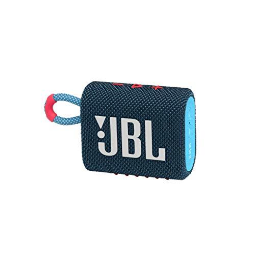 JBL GO 3 Speaker Bluetooth Portatile, Cassa Altoparlante Wireless con Design Compatto, Resistente ad Acqua e Polvere IPX67, fino a 5 h di Autonomia, USB, Blu e Rosa
