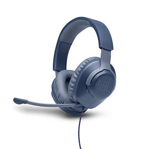 JBL Quantum 100 Cuffie Gaming Over-Ear con Filo, Headset da gioco con Microfono Boom Direzionale Rimovibile, compatibilità Multipiattaforma PC e Console, Colore Blu