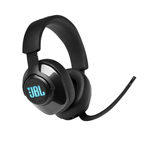 JBL Quantum 400 Cuffie Gaming Over-Ear con Filo USB, Headset da gioco con Microfono, Surround su PC e RGB, compatibilità Multipiattaforma PC e Console, Colore Nero