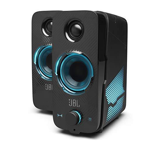 JBL Quantum DUO Set Altoparlanti Gaming Bluetooth Wireless, con Dolby Audio e Illuminazione LED RGB con Effetti di Luce, per PC, Mac, Windows e Console da gioco, Colore Nero