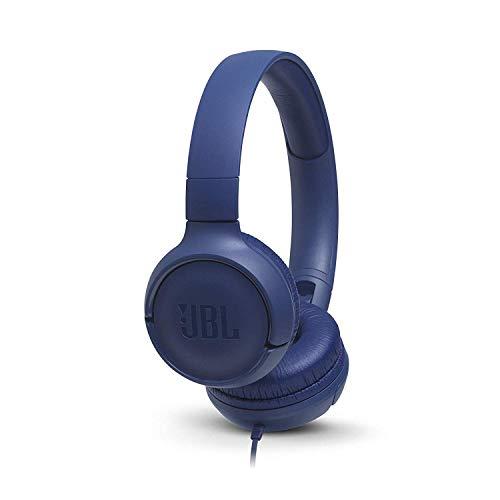 JBL Tune 500 Cuffie Sovraurali, Cuffia On Ear con Microfono e Comando Remoto ad 1 Pulsante, JBL Pure Bass Sound, Compatibile con Siri e Google, Leggere e Pieghevoli, Da Viaggio, Blu