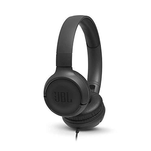 JBL Tune 500 Cuffie Sovraurali, Cuffia On Ear con Microfono e Comando Remoto ad 1 Pulsante, JBL Pure Bass Sound, Compatibile con Siri e Google, Leggere e Pieghevoli, Da Viaggio, Nero