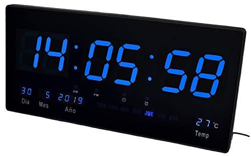 JeVx - Orologio digitale da parete, a LED, con calendario, termometro, sveglia, cronometro, fonte di alimentazione