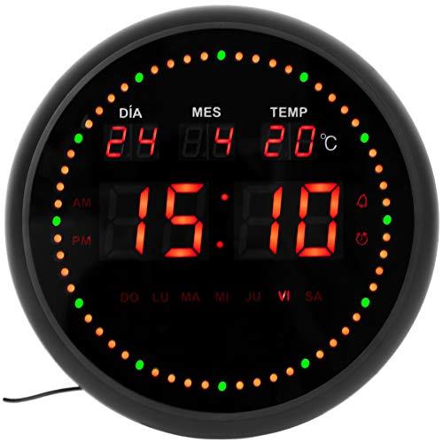 JEVX Orologio digitale da parete rotondo da appendere – secondi dinamico circolare attenuatore di illuminazione allarme LED calendario termometro clock misuratore di temperatura fonte di alimentazione