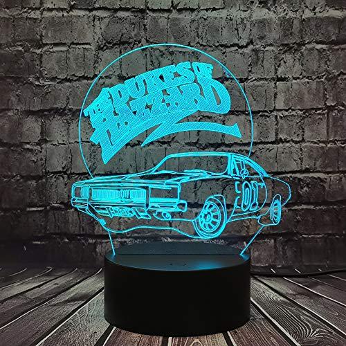 Jinlycoo Illusione ottica 3D 01 AUTO I Duchi di Hazzard modello di auto luce notturna lampada da tavolo per la decorazione uomini ragazzo camera da letto vacanze compleanno Natale regalo per