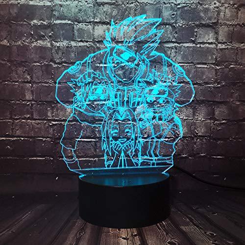 Jinlycoo Naruto Family Sasuke Uzumaki Naruto 3D Ottico 7 Colori Cambiamento LED Lampada da Tavolo Giappone Comic Sakura Sonno Mood Luce Notte per Bambini Camera Vacanza Compleanno Natale Bambino