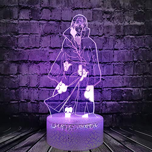 Jinlycoo Naruto Sasuke Itachi luce notturna 3D Illusione ottica LED lampada da tavolo per ragazzo camera da letto decorazione umore notte luce regalo di compleanno per adolescenti ragazzo bambino