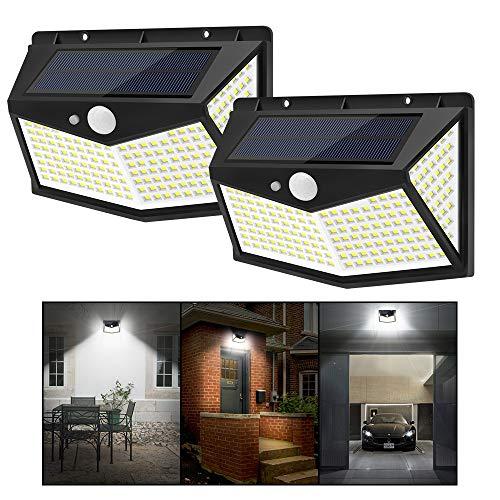 JKZJ 212 LED Luci da Esterno con 3 Modalità, Faretti Led da Esterno con Sensore di Movimento Wireless Impermeabile Solari Lampade Solari da Giardino