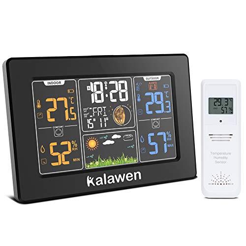 Kalawen Stazione Meteo Automatica Digitale Wireless Meteorologica con Ampio Schermo LCD Display Sveglia Tempo Data Temperatura umidità Previsioni di Tempo con Sensore Esterno Wireless 201