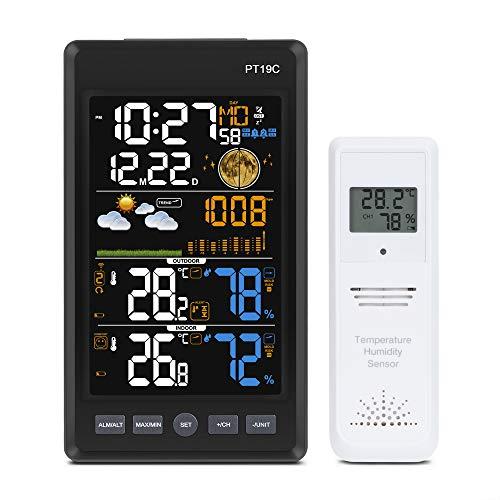 Kalawen Stazione Meteo Meteorologica Digitale Wireless Automatica Termometro Temperatura Interna Esterna umidità con Schermo VA Ampio Angolo di Vista, Verticale Nero