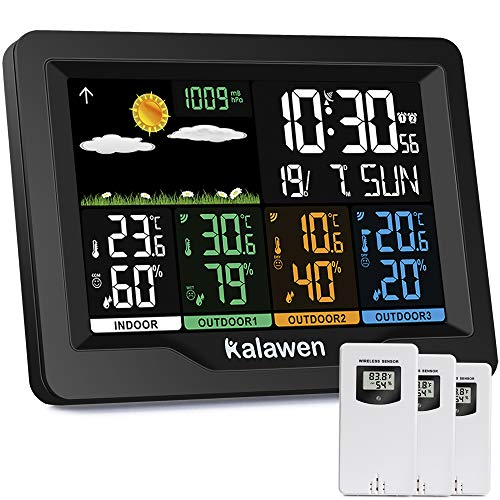 Kalawen Stazione Meteo Meterologica Digitale con 3 Sensore Esterno Wireless Automatica con Schermo LCD Display Sveglia Tempo Data Temperatura Umidità Previsioni Meteo