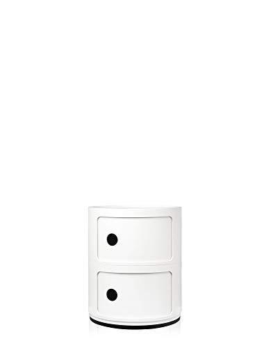 Kartell Componibili Contenitore 2 Elementi, Base Tonda, ABS, Bianco, 32 x 32 x 40 cm