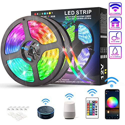KATUR Striscia LED 10 metri, Compatibile con Alexa e Google Assistant IP65 impermeabile Smart APP WiFi e controllo controller a 24 tasti, 300 LED 5050 RGB, Strisce LED Musica Dimmerabile Temporizzato
