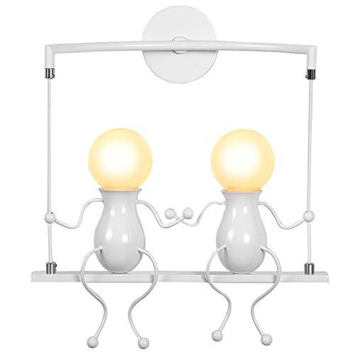 KAWELL Humanoid Creativo Applique da Parete Moderna Lampada da Parete Lampada a Muro Applique Candelabro Art Deco Max 60W E27 per Stanza dei Bambini, Camera da Letto, Scale, Swing Bianco x2