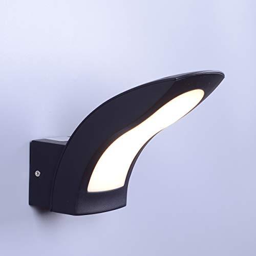 KAYIMAN Applique da parete curva a LED per esterni a LED integrale 15W Esterno in alluminio nero IP54 [Classe energetica A +]