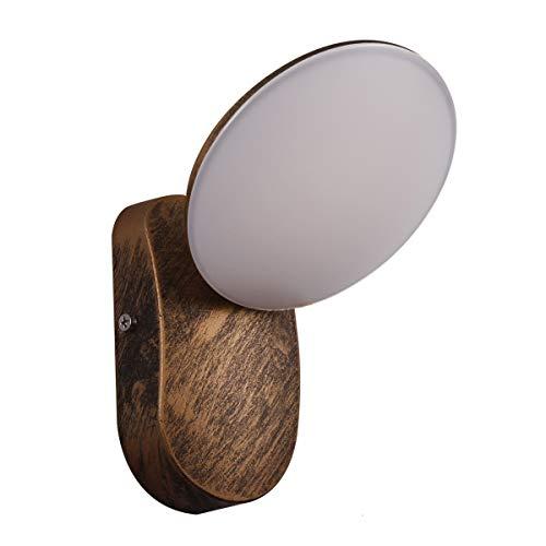 KAYIMAN Lampada da parete a LED per esterni in ottone antico 12W applique antiche per interni applique antica rustica vintage industrial (colore ruggine) [Classe energetica A +]